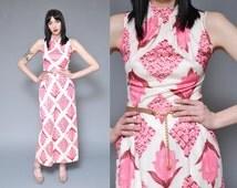 70s Maxi Dress Floral Printed Dress S Ivory White Pink TULIP Printed Mod Hippie Boho Sleeveless Mock Turtleneck High Waisted Spring Dress