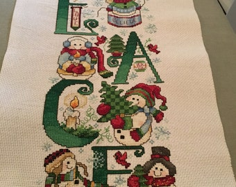 Peace completed Christmas cross stitch