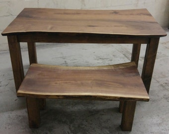 Black Walnut Slab Table and Bench Combo