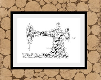 Sewing Machine Print, Personalised Sewing Machine, Sewing Machine Word Art, Sewing Machine Word Collage, Sewing Machine Print, Sewing Room