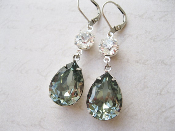 Grey Crystal Drop Earrings Rhinestone Bridal Jewelry Black Diamond Old Hollywood Vintage Style Gray Wedding Jewelry Swarovski Elements
