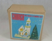 Vintage Church Music Box with Blinking Light, in Original Box, Circa 1940s, by Nasco Japan