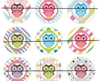 Cute Owl 1 inch flat back, pin backs, or hollow buttons and bottle caps, crafts, scrapbooking, bow centers- set of 15.      B93