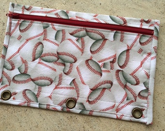 BACK TO SCHOOL :  baseball pencil case with red zip and red lining