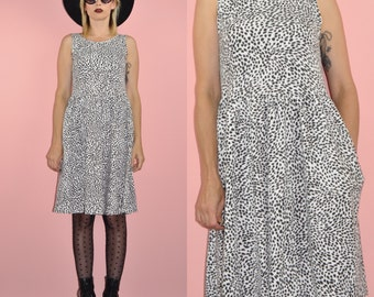 Vintage 80s 90s Black and White Animal Print Grunge Knit Dropped Waist Tank Dress