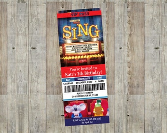 Sing Movie Themed Birthday Party Invitation. Customizable, Printable, Disney Invite