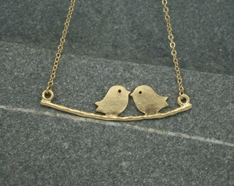 Two birds on a branch necklace, brides necklace, bridesmaid  necklace, mothers necklace, wedding jewellery