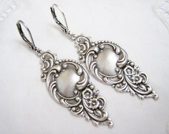 Victorian Art Nouveau Repousse Antique Sterling Silver plated Long Drop Dangle Earrings Stamped Brass Ornate Flowers Swirls Lever Back