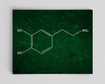Science Art Dopamine Molecule Chemical Structure Chemistry Poster Science Gifts for Teachers Office Decor Toxicologist Lab Poster Office Art