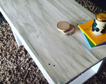 Handmade Rustic Coffee Table smaller (White with gray wash)