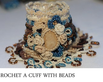 Crochet a cuff with beads - tutorial in photos and videos
