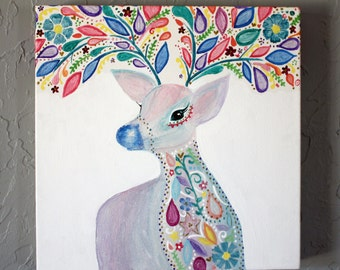 Spirit of the Forest - Orginal AcrylicDeer Stag Elephant Painting