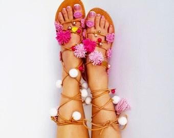 Pom Pom Sandals, Tie up Gladiator Sandals, Boho Leather sandals ''Sugar Darling''