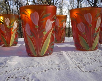 Marigold Carnival Glass Tumblers, Hand Painted , Set of 6