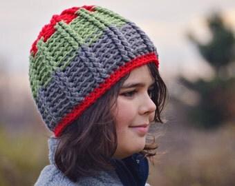 Custom Boys Striped Beanie,  Textured Crochet Hat,  Kids Winter Hat,  Made to Order