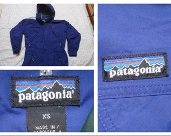 Vintage Retro Men's 90's Patagonia Parka Shell Purple Hood Full Zip Jacket XS