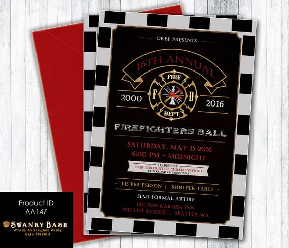 Firefighters Ball Invitation Fireman Birthday Invite