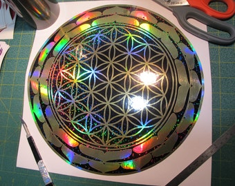 "Lotus Flower of Life. Deep Space Rainbow Edition. Vinyl Sticker. Window Decal.  Large 11.5"" size."