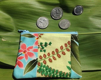 "Patchwork coin purse ""hawaii orchid & fern """