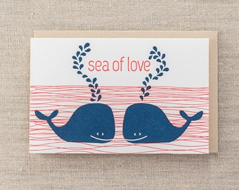 Sea of Love  Letterpress Greeting Card