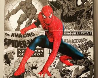 Comic Book Inspired Canvas Art- Spider-Man, Hulk, Superman, Wonder Woman
