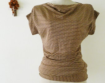 15 DOLLAR SALE vtg brown and gold stripe jumper top, cap sleeve blouse, cowl neck,stretchy t shirt,summer tshirt,body con,jumper top, XS-S-M
