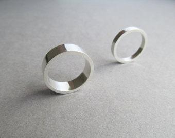 Matching Set of Minimalist Sterling Silver Wedding Rings