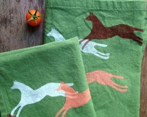 Hand made block printed kitchen tea towel cave horse pattern