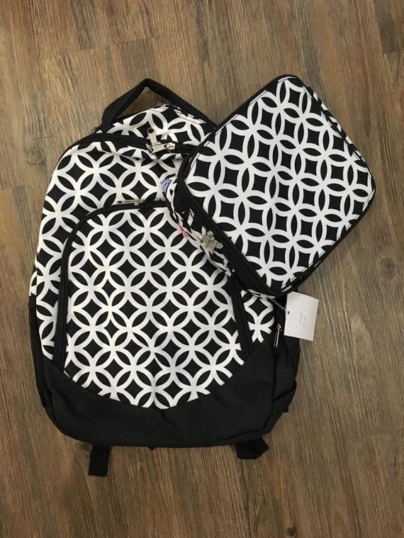 Black and White Quatrefoil Geometric Print Backpack and Lunchbox Set