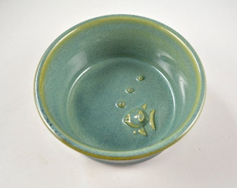 Cat Dish Bowl with Fish & Bubbles Wheel Thrown Stoneware Pottery Pet Dishes