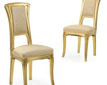 Very Fine Pair of Art Nouveau Period Gilt Antique Side Chairs, 510NAU19P