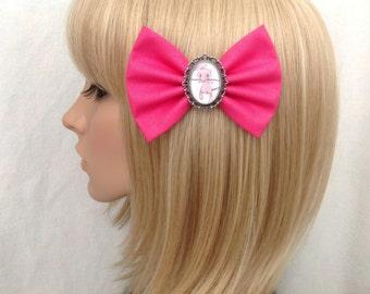 Pokemon Mew hair bow clip rockabilly psychobilly kawaii pin up cute fabric blue pink polka dot vintage geek pikachu ash girls women