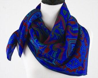 1980s Jewel Tones Square Silk Scarf