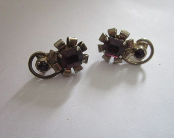 Antique Sterling Silver & Amythest clip on Ladies Earrings