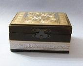 Paraphernalia Box - Black with Embossed Pewter - Stash Box, Trinket Box, Keepsake Box