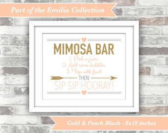 INSTANT DOWNLOAD - Emilia Collection - Printable Wedding Bridal Shower Mimosa Bar Sign - 8x10 Digital File Gold Peach Blush Sip Hooray