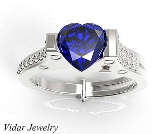 Heart Cut Blue Sapphire Handcuff Engagement Ring,Unique Engagement Ring,Blue Sapphire Engagment Ring,Diamond Engagement Ring,Custom Ring