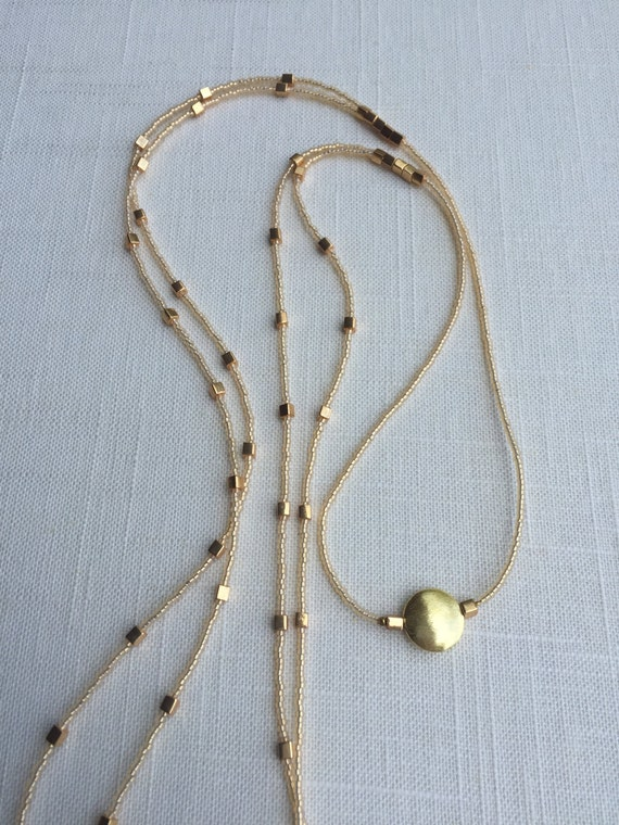 Long Multi Strand Gold Beaded Necklace - Holly Avenue Designs