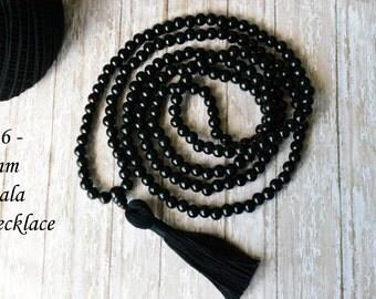 Mala bead, 216 Mala, Mala Necklace, Black Mala, Black Wood Mala, Wood Mala, Mala for Man, Tassel Necklace, Tassel Mala, Buddhist Jewelry
