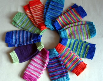 Super soft hand knitted bamboo/wool stripey baby leg warmers ready for shipping