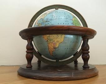Tiny Weber Costello Antique World Globe with Walnut Base - Circa 1932