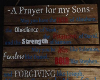 Prayers of my Son (s) Wood Pallet Sign