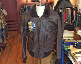 Vintage 1970s USN G-1 Flight Jacket with Patches. Size 44