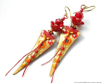 Artisan tribal boho earrings ruby red lampwork by for Ultra glass sacramento ca