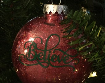 "Red Glittered ""Believe"" Ornament"