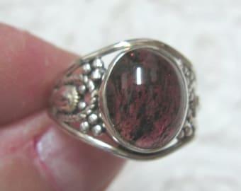 Garnet Sterling Ring Size 9 1/2