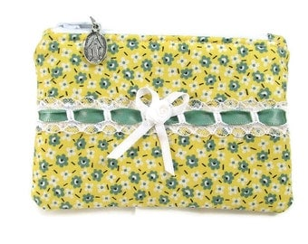 Women's Rosary Pouch, Yellow and Green, Catholic Gift,Coin Purse, Religious, Small Bag or Purse