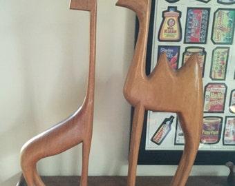 Vintage Mid Century Danish Modern Teak Giraffe Camel Sculpture