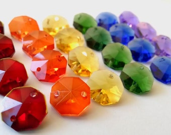 24 Rainbow Colors 14mm Octagon Chandelier Crystal Beads Shabby Chic Prisms