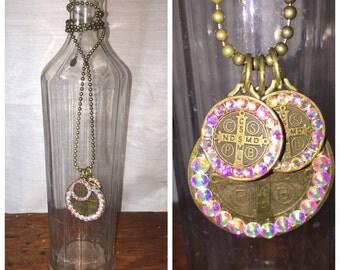 "Swarovski crystal AB 28"" necklace."